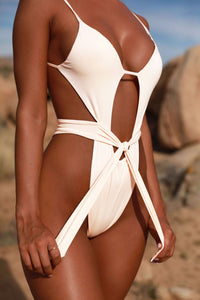 Solid String Hollow Out Padded One Piece Swimsuit White