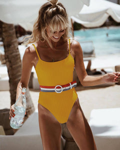 Solid With A Belt Padded One Piece Swimsuit Yellow