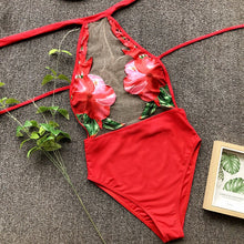 Load image into Gallery viewer, Applique Red Mesh Padded One Piece Swimsuit