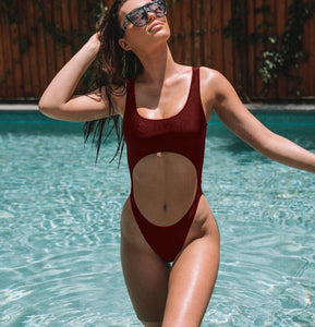 Solid Hollow Out Padded One Piece Swimsuit Red Wine