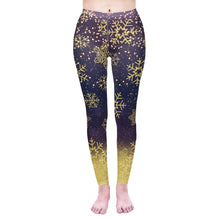Load image into Gallery viewer, Golden Snowflakes Printing High Waist Women Leggings