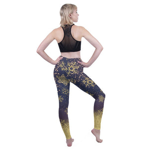 Golden Snowflakes Printing High Waist Women Leggings