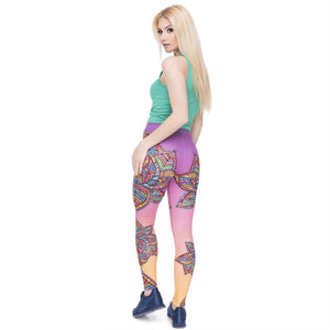 Retro Colourful Flowers Mandala Printing High Waist Women Leggings
