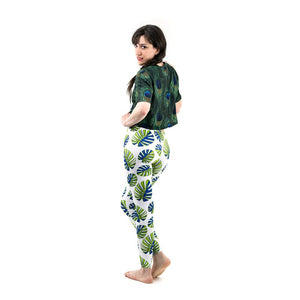 Green Leaves Pattern Printing High Waist Women Leggings