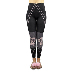 Black Strips Forever Princess Printing High Waist Women Leggings