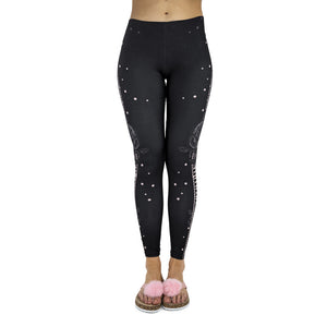 Black rose latte Printing High Waist Women Leggings