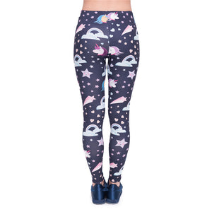 Unicorns Navy Printing High Waist Women Leggings