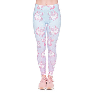 Unicorns Wings Printing High Waist Women Leggings