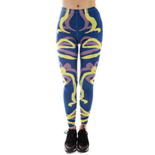 Load image into Gallery viewer, Line Blue Ego Face Printing High Waist Women Leggings