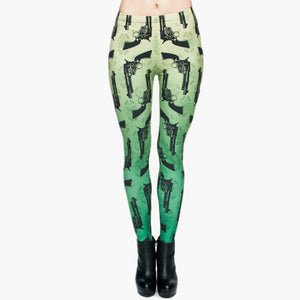 Guns Green 3D Printing High Waist Women Leggings