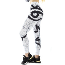 Load image into Gallery viewer, White Line Face Me Up Printing High Waist Women Leggings