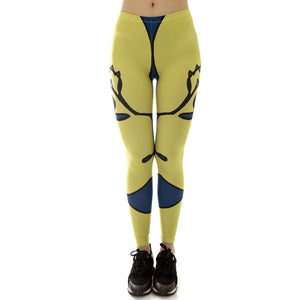 Yellow Face Printing High Waist Women Leggings