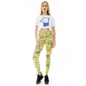 Yellow Face Sunlight Printing High Waist Women Leggings