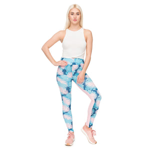Pink Palm Printing High Waist Women Leggings