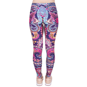 Mandala Flowers Pink Printing High Waist Women Leggings