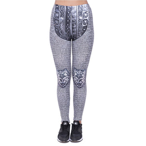 Gray Lock Printing High Waist Women Leggings