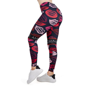 LIPS Printing High Waist Women Leggings