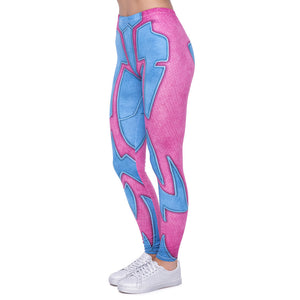 Pink Wrestler Printing High Waist Women Leggings