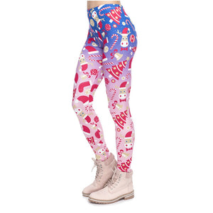 Christmas Symbols Ombre Printing High Waist Women Leggings
