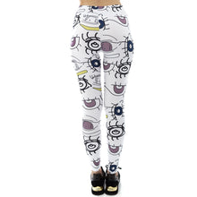 Load image into Gallery viewer, White Starring Face Printing High Waist Women Leggings