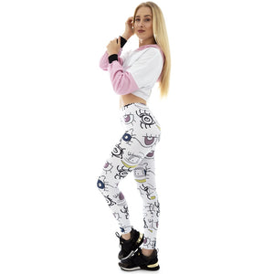 White Starring Face Printing High Waist Women Leggings