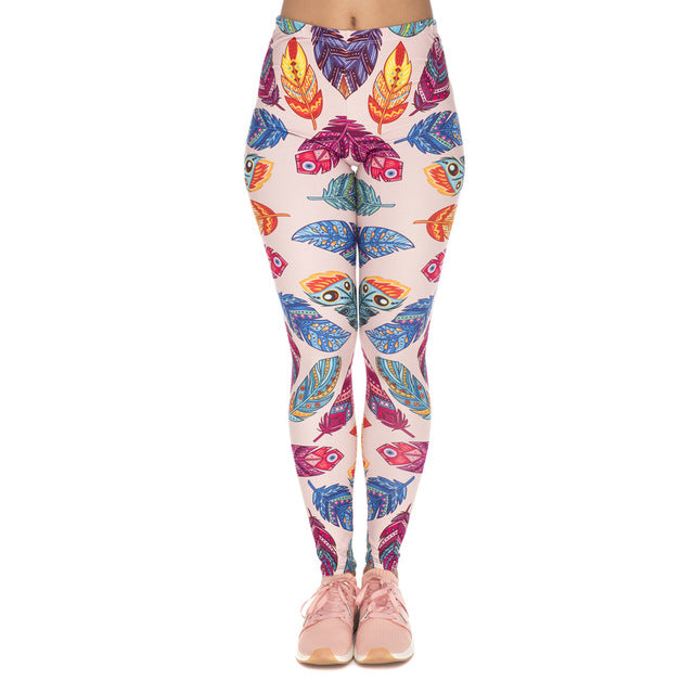Feathers Vibes Printing High Waist Women Leggings
