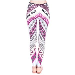 Aztec Pink Printing High Waist Women Leggings