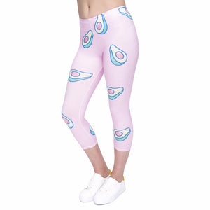 Avocado-Pink Printing Mid-Calf 3/4 Women Capri Leggings
