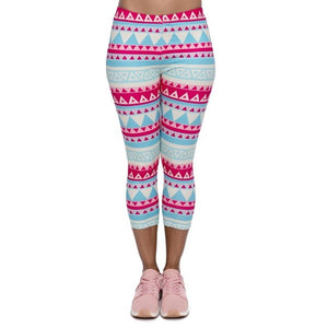 Aztec Green Printing Mid-Calf 3/4 Women Capri Leggings