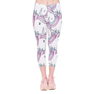 White Unicorns Printing Mid-Calf 3/4 Women Capri Leggings