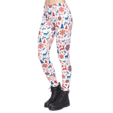 Load image into Gallery viewer, Red And Navy Christmas Printing High Waist Women Leggings