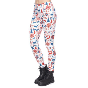 Red And Navy Christmas Printing High Waist Women Leggings