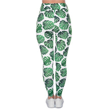 Load image into Gallery viewer, Monstera White Printing High Waist Women Leggings
