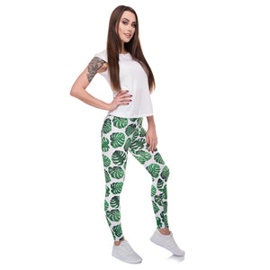 Monstera White Printing High Waist Women Leggings