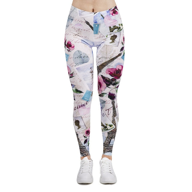 From Paris With Love Printing High Waist Women Leggings