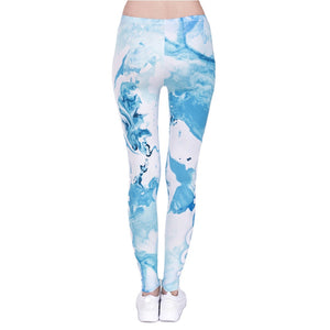 Marble Blue Printing High Waist Women Leggings