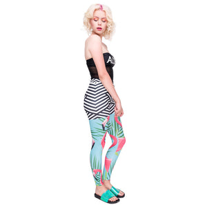 Flamingo Palm Leaves Printing High Waist Women Leggings