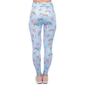 Unicorn Rainbow Cat Printing High Waist Women Leggings