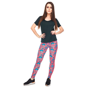 Red Roses Ornament Printing High Waist Women Leggings