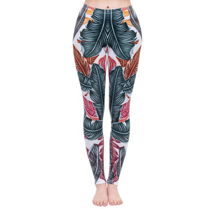 Cool Leaves Printing High Waist Women Leggings