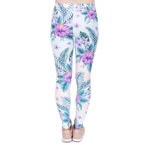 Tropical Pink Flowers Printing High Waist Women Leggings