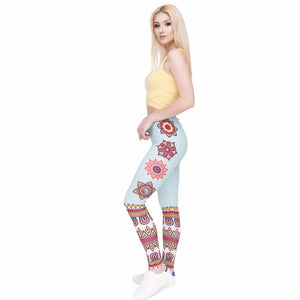Mandala and White Dots Printing High Waist Women Leggings