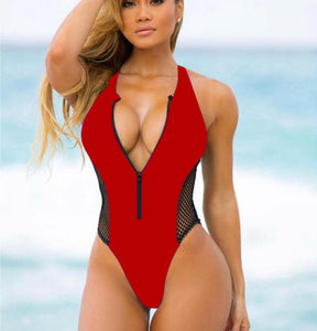 Zipper Mesh Patchwork Padded One Piece Swimsuit Red