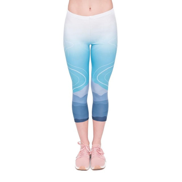 Wild Moutain Printing Mid-Calf 3/4 Women Capri Leggings