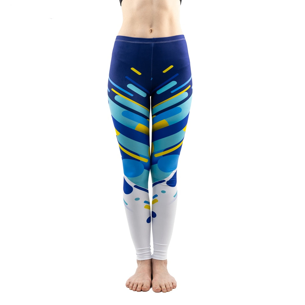 Blue Line Trend Printing High Waist Women Leggings