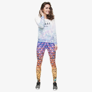Triangle Glass 3D Printing High Waist Women Leggings