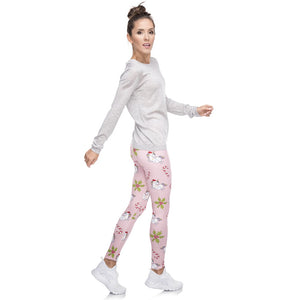 Christmas Unicorns Printing High Waist Women Leggings