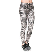 Load image into Gallery viewer, Gray Leaves Printing High Waist Women Leggings