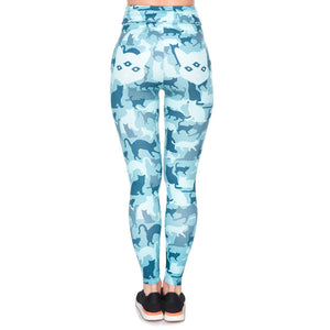 Cat Camo Psycho Printing High Waist Women Leggings