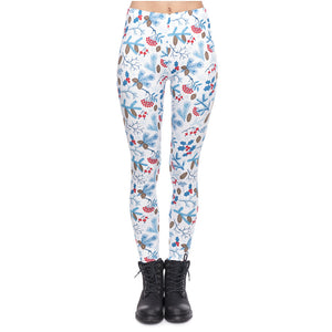 Christmas Forest Printing High Waist Women Leggings